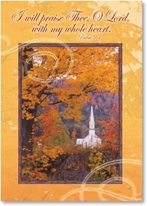 Thanksgiving Card - With gratitude for His blessings, including you; Psalm 9:1 | Robert  Cushman Hayes | 2003333-P | Leanin' Tree