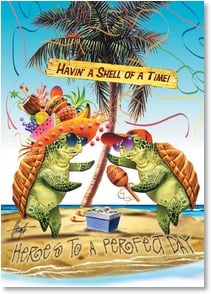 Birthday Card - A Little Sun, a Little Sand, and A Beach Drink or Two! | Jim Mazzotta | 2003386-P | Leanin' Tree