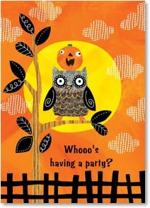 Halloween Invitation - Whooo's having a party? | Ellen Krans | 2003486-P | Leanin' Tree