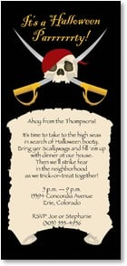 Halloween Invitation - Pirate skull and crossed swords | LT Studio | 2003488-P | Leanin' Tree