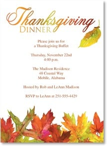 Thanksgiving Invitation - Autumn Leaves | Gail Flores | 2003506-P | Leanin' Tree