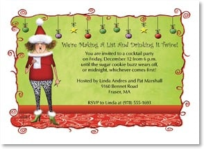 Holiday Party Invitation - We're Making a List Drinking it Twice! | Leslie Moak Murray | 2003574-P | Leanin' Tree