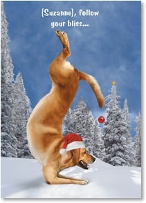 Holiday Card - Become one with the holidays. | Yoga Dogs®/Yoga Cats | 2003606-P | Leanin' Tree