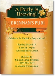 St. Patrick's Day Invitation - A Party is Brewing! | LT Studio | 2003731-P | Leanin' Tree