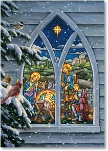 Christmas Card - Heaven's light shines down upon us...  w/ Psalm 118:27 | Darrell Bush | 2004109-P | Leanin' Tree