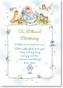 Christening Card - It's a joy to share your joy... w/ psalm 91:11 | Tina Wenke | 2004145-P | Leanin' Tree