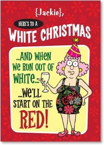 Christmas Card {Name} - Here's to making spirits bright! | Aunty Acid™ | 2004277-P | Leanin' Tree