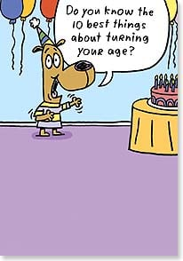 Birthday Card - Staff Pick - Funny | The 10 Best Things About Your Age | Stan Makowski | 21109 | Leanin' Tree