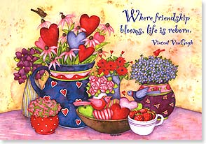 Valentine's Day Card - Where friendship blooms, life is reborn... Vincent Van Gogh | Debi Hron | 21656 | Leanin' Tree