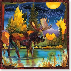 Blank Card - Moonlit Moose | Nancy Dunlop Cawdrey | 23362 | Leanin' Tree