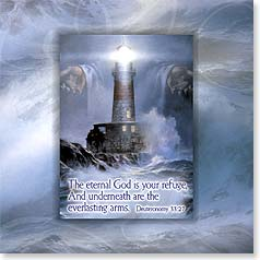 Encouragement Magnet Card - Christian | God Is Your Refuge | Deuteronomy 33:27 | Danny Hahlbohm | 24072 | Leanin' Tree