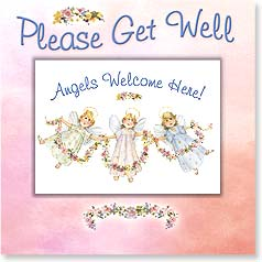 Get Well Magnet Card - Angels Welcome Here! | Carolyn Shores Wright | 24078 | Leanin' Tree