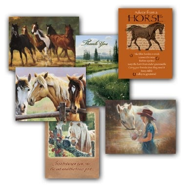 Boxed Blank Note Cards<BR/>3 each of 4 designs - Horses - 28269 | Leanin' Tree