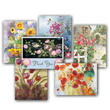Boxed Blank Note Cards<BR/>3 each of 4 designs - Florals - 28271 | Leanin' Tree