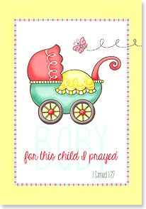 Baby Congratulations Card - Sweet little gift God has sent! w/ 1 Samuel 1:27 | Krista Hamrick | 29188 | Leanin' Tree