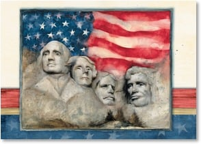 Blank Card - Presidential Faces of Rushmore | Susan Winget | 2_2002566-P | Leanin' Tree