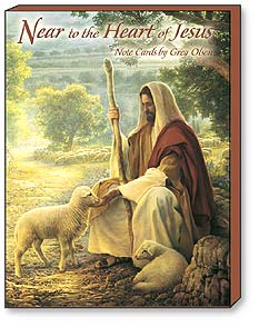 Boxed Blank Note Cards<BR/>3 each of 4 designs - Near to the Heart of Jesus by Greg Olsen - 34610 | Leanin' Tree