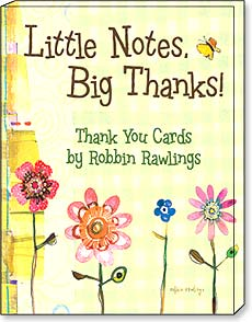 Boxed Greeted Note Cards<BR/>3 each of 4 designs - Little Notes, Big Thanks by Robbin Rawlings - 34673 | Leanin' Tree