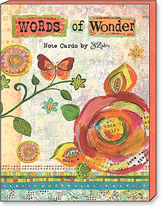 Boxed Blank Note Cards<BR/>3 each of 4 designs - Words of Wonder by Sue Zipkin - 34679 | Leanin' Tree