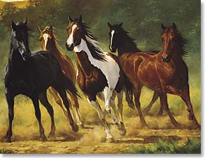 Blank Note Card Set<BR/>8 of 1 design - Running Horses by Chris Cummings | Chris Cummings | 35033 | Leanin' Tree