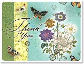 Blank Note Card Set<BR/>8 each of 1 design - Thank You  | Lori Siebert | 35855 | Leanin' Tree