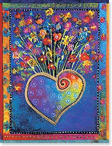 Blank Note Card Set<BR/>8 of 1 design - Heart with Flower Bouquet | Laurel Burch® | 35936 | Leanin' Tree