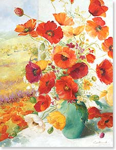 Blank Note Card Set<BR/>8 of 1 design - Poppies in a Vase | Fabrice de Villeneuve Studio | 35961 | Leanin' Tree