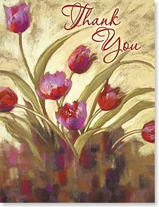 Blank Note Card Set<BR/>8 of 1 design - Breezy Pink Tulips | Nel Whatmore | 35975 | Leanin' Tree