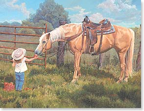 Blank Note Card Set<BR/>8 of 1 design - Girl gives Apple to Horse | June Dudley | 35979 | Leanin' Tree