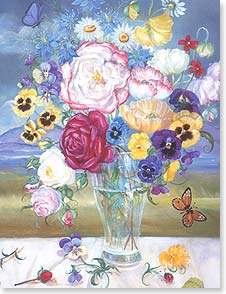 Blank Note Card Set<BR/>8 of 1 design - Flowers in Vase with Butterfly | Pamela Silin-Palmer | 35982 | Leanin' Tree
