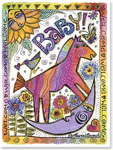 Baby Congratulations Card - Welcome Baby!  So lucky to have parents like you! | Laurel Burch® | 44854 | Leanin' Tree