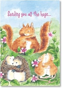 Praying For You Card - Hugs and Prayers: I Peter 5:7 | Margaret Sherry | 5_2000169-P | Leanin' Tree