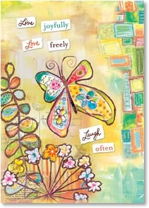 Blank Card with Quote / Saying - live joyfully, love freely laugh often | Lori Siebert | 5_2001781-P | Leanin' Tree