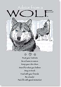 Blank Card with Quote / Saying - Advice From A WOLF | Your True Nature® | 60295 | Leanin' Tree