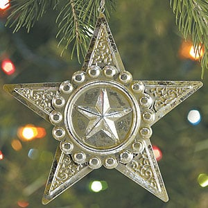 Christmas Ornament - Sale - Antique Silver Star Christmas Ornament - 62048 | Leanin' Tree