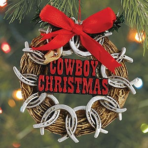 Christmas Ornament - Sale - Cowboy Christmas Wreath - 62049 | Leanin' Tree