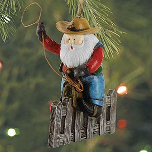 Christmas Ornament - Sale - Santa on Fence - 62052 | Leanin' Tree