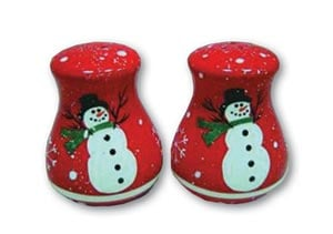 Salt &amp; Pepper Shaker - Sale - Traditional Red Shakers with Snowmen - 62304 | Leanin' Tree