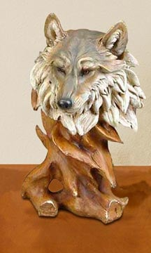 Sculpture - Wolf Wildlife Sculpture - 62418 | Leanin' Tree