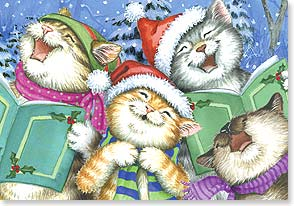 Christmas Card - Caroling Cats - 72462 | Leanin' Tree