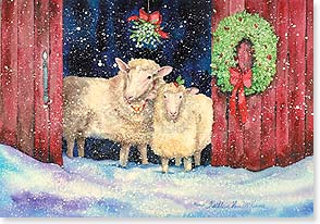 Christmas Card - Merry Kiss-mas Two Ewe!  | Kathleen Parr McKenna | 73070 | Leanin' Tree