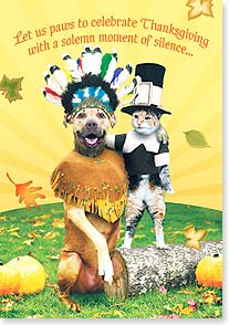Thanksgiving Card - Paws to Celebrate Thanksgiving | John Lund | 73132 | Leanin' Tree