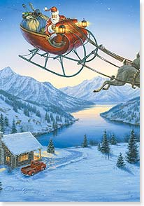 Santa in Sleigh Card
