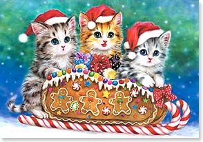 Christmas Card - We wish you a Meowy Christmas and a Happy Mew Year | Kayomi Harai | 73372 | Leanin' Tree