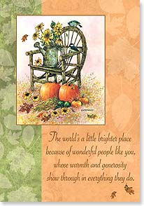 Thanksgiving Card - Thinking thankful thoughts of you! | Giordano Studios | 73382 | Leanin' Tree