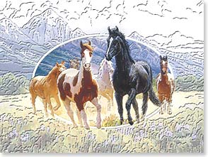 Birthday Card - Deluxe Embossed | Horses In The Field | Claire Goldrick | 80620 | Leanin' Tree