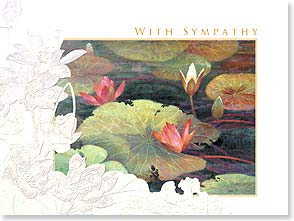 Sympathy Card - Staff Pick - Deluxe Embossed |  With Sympathy, Lotus Flower | Ailian Price | 80638 | Leanin' Tree