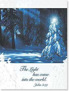 Christmas Card - The light of peace and love shine brightly w/ John 3:19 | Allan Husberg | 80917 | Leanin' Tree