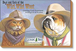 Boxed Greeted Cards<BR/>1 each of 20 designs - Dogs and Cats of the Wild, Wild West | Bryan Moon | 90695 | Leanin' Tree