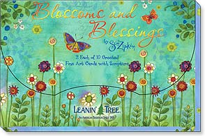 Boxed Greeted Cards<BR/>2 each of 10 designs - Blossoms and Blessings by Sue Zipkin - 90754 | Leanin' Tree